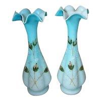 Pair Antique Oplaline Glass Vasses with Enamel Decorations