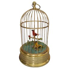 A Vintage Karl Griesbaum Two Birds in Cage Automaton Music Box
