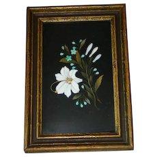 Antique Italian Florentine Pietra Dura  Mosaic Plaque signed FV