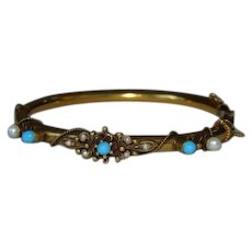 Antique 14K Gold Bangle Bracelet Cabochons Turquoise Seed Pearls