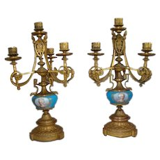 Pair Antique French Gilt Bronze Ormolu Candelabras Sevres Style Portrait Inserts
