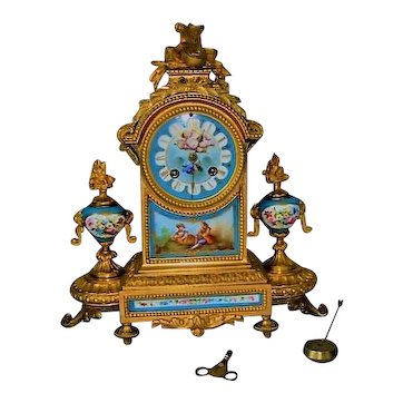 Antique Bronze Ormolu Mantel Clock with HP Sevres Style Plaques