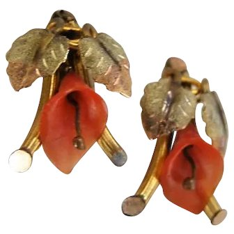 Antique Mediterranean Red Salmon Coral Earrings