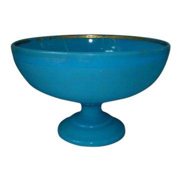 Large Antique Blue Opaline Glass Punch Bowl