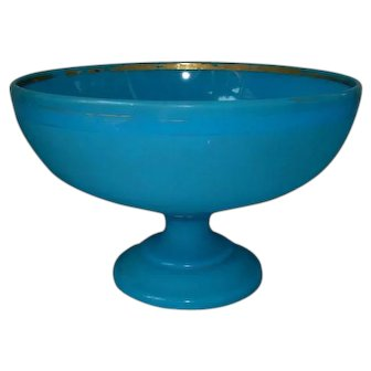 Large Antique Blue Opaline Glass Punch Bowl