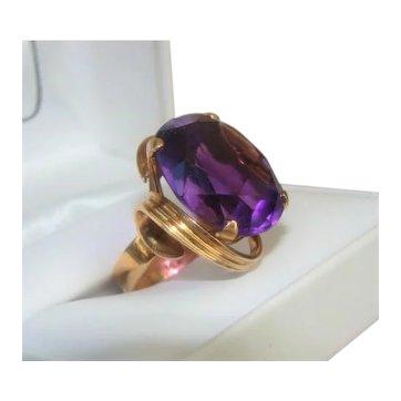 Huge Vintage 14K Gold and Amethyst Stone Cocktail Ring