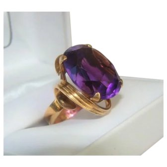 Huge Vintage 14K Gold and Amethyst Stone Cocktail Ring