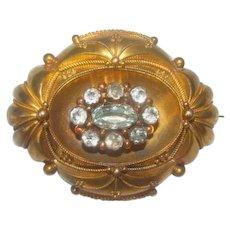 Antique Victorian Era 14K Gold Aquamarines Brooch c1860s
