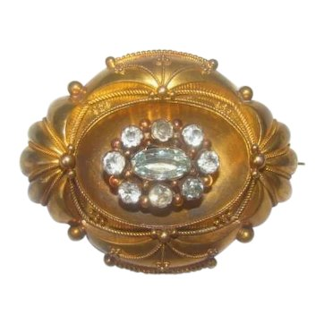 Antique Victorian Era 14K Gold Aquamarines Brooch  or Pendant  c1860s