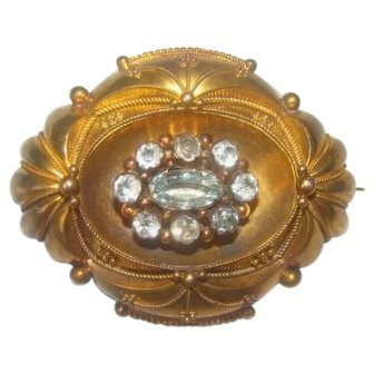 Antique Victorian Era 14K Gold Aquamarines Brooch c1860s