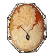 Antique 14K White Gold Diamond Italian Carved Cameo Brooch Pendant