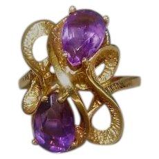 Vintage 14K Gold and Amethyst Ring Signed ESEMCO