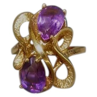 Vintage 14K Gold and Amethyst Ring Signed ESEMCO