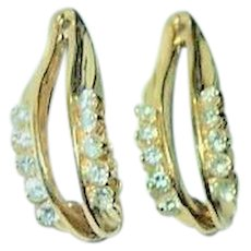 Pair 14K Gold and Diamonds Earrings Enhancers Custom Made