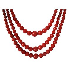 Antique Mediterranean Oxblood Red Natural Three Strands Coral Necklace  56.6 grams