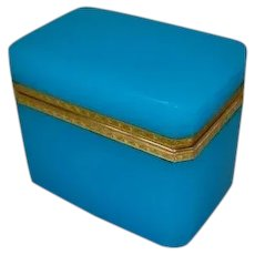 Antique French Blue Opaline Rectangular Jewelry Box Casket