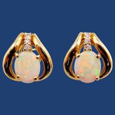 14K Australian Opal and Diamond Pierced Earrings