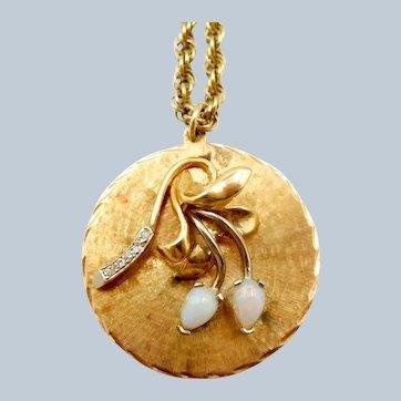 Vintage 14K Gold Opal Diamond Pendant Necklace