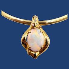 18k Gold Australian Opal Diamond Pendant Omega Chain Necklace