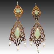 Vintage 22K YG Faux Jade, Freshwater Pearls Pierced Chandelier Earrings
