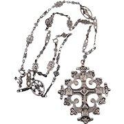 800 Silver Ornate Italian Florence Eastern Orthodox Byzantine Cross Necklace