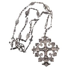 800 Silver Ornate Italian Florence Eastern Orthodox Byzantine Cross Necklace