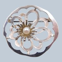 Vintage 835 Silver K&L Kordes & Lichtenfels Pearl Floral Circle Brooch
