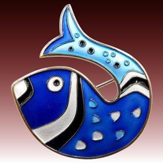 Vintage D. Andersen Norway Sterling Vermeil Blue White Black Enamel Fish Brooch