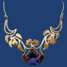 Artisan JR Amethyst Brass Silver Tone Floral Collar Necklace