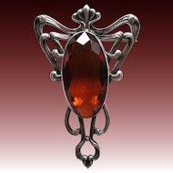 Art Nouveau Whiplash Faux Topaz Brooch