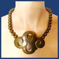 Audrey Schenk Brass Modernist Necklace