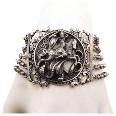 Vintage Sterling Silver St. George and Dragon BAS Bracelet - Red Tag Sale Item