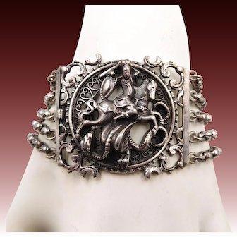 Vintage Sterling Silver St. George and Dragon BAS Bracelet