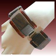 Vintage Bakelite & Wood Link Bracelet