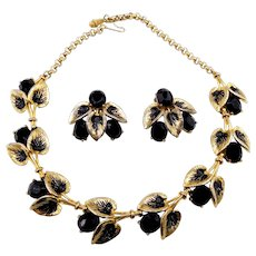 Vintage Schiaparelli Black Rhinestones and Leaves Necklace Earrings Set