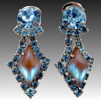 Vintage Saphiret Sappharine Blue Rhinestone Clip Earrings