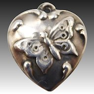 "Vintage 1940s Sterling Butterfly Puffy Heart Charm ""Eugene"""