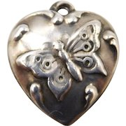 """Vintage 1940s Sterling Butterfly Puffy Heart Charm """"Eugene"""""""