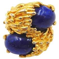 Vintage Cadoro Modernist Faux Lapis Bypass Ring