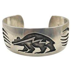 Native American Navajo Calvin Peterson Sterling Bear Cuff Bracelet