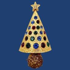 Vintage Hattie Carnegie Light Up Christmas Tree Brooch