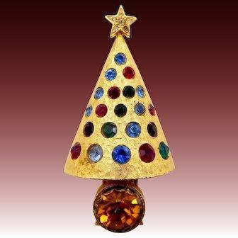 Vintage Hattie Carnegie Rhinestone Light Up Christmas Tree Pin
