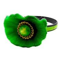 Vintage Hattie Carnegie Green Fiber Flower Bracelet