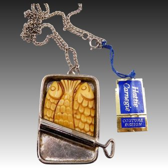 Vintage Hattie Carnegie Sardines in a Can Necklace with Tag!
