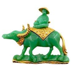 Vintage Hattie Carnegie Green Lucite Asian Man on Water Buffalo Figural Brooch