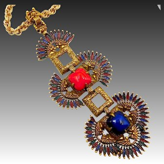 Vintage Vrba for Castlecliff Pagoda Pendants Kissing Indians Necklace