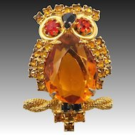 Vintage Alice Caviness Topaz Rhinestone Owl Brooch