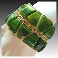 Wide Charel Green Marbled Bakelite Bracelet