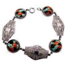 Art Deco Chromium Filigree and Glass Cabochons Bracelet