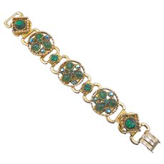 Vintage Chunky Emerald Green Rhinestone and Art Glass Link Bracelet